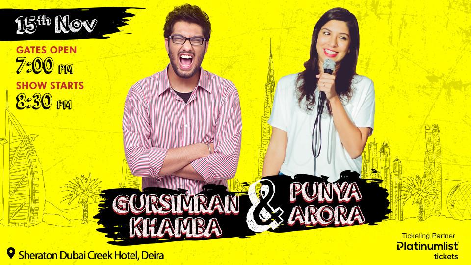 GURSIMRAN KHAMBA and PUNYA ARORA Live in Dubai,Sheraton Dubai Creek Hotel & Towers,Comedy Events, Desi Events