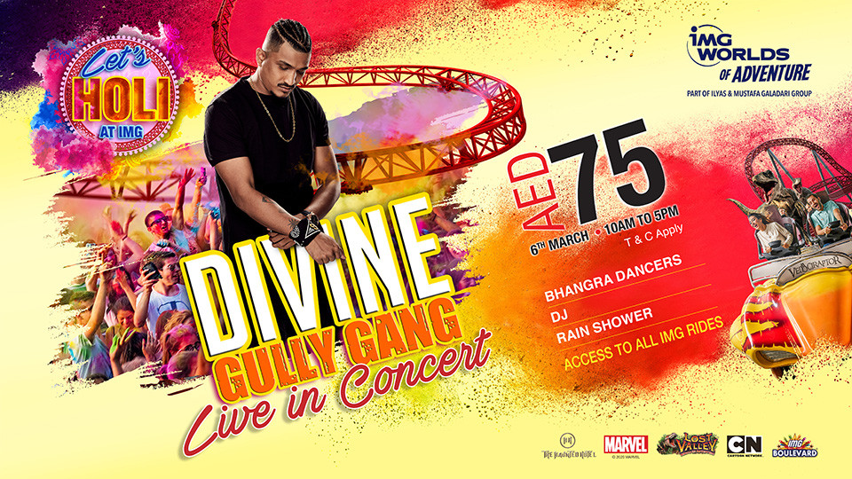 Holi at IMG Worlds of Adventure Live with  Divine Gully Gang,IMG Worlds of Adventure Dubai,Holi Events