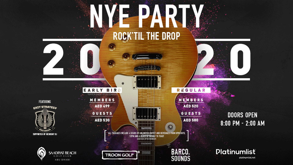 New Year's Eve Party Rock' Till The Drop,Saadiyat Beach Golf Club, Abu DHabi,New Years Eve Events