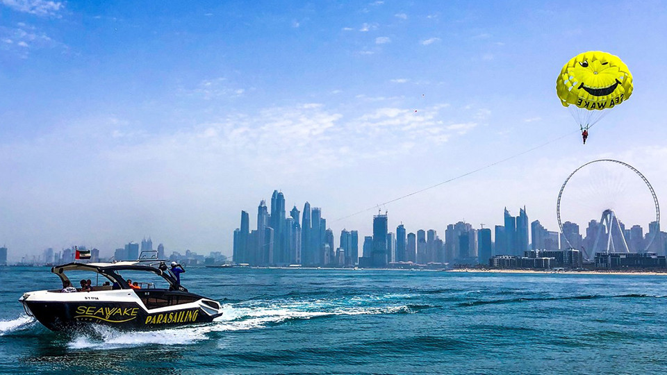 Parasailing at JBR Dubai,Seawake Yacht Rental - JBR Public beach,Aerial Adventures, Water Sports