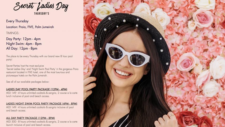 Secret Ladies' Day - Thursdays at Praia,FIVE Palm Jumeirah,ليالي السيدات