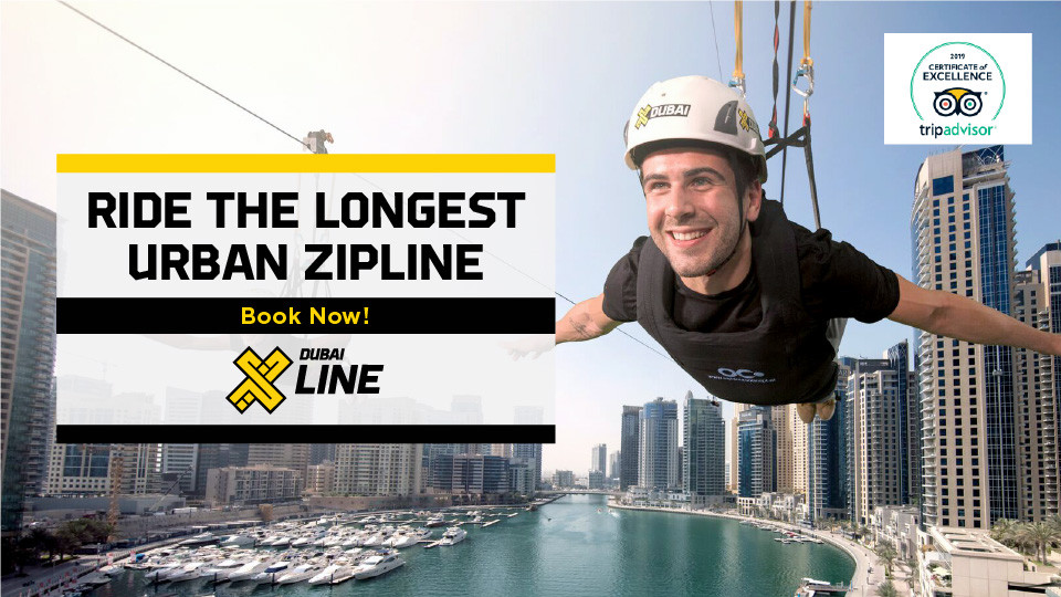 XLine Dubai  Marina - The Longest Urban Zipline in The World,Dubai Marina Mall Level P,Zipline